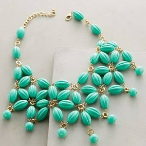 Anthropologie Green Floral Beaded Necklace